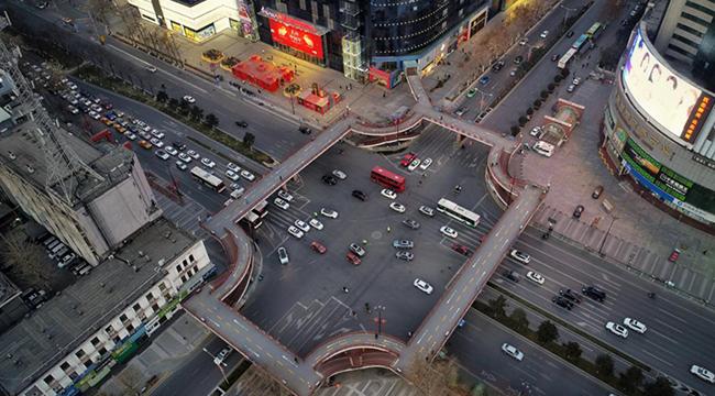 """【無人機""""瞰""""陜西】返程復工人員增多 西安城區道路車輛明顯增加"""